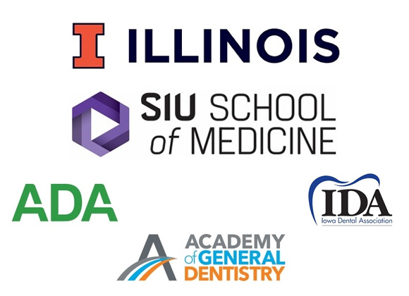 Dr. Smiley's dental school and professoinal organization logos