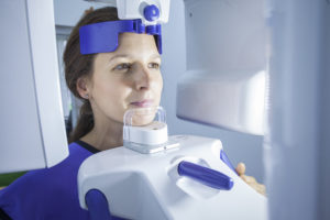 Woman receiving 3D cone beam scan